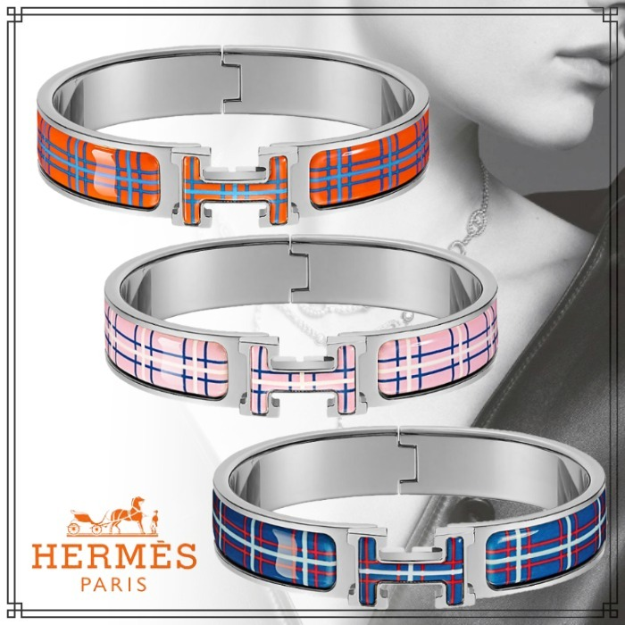 2021SS 直営店 HERMES ブレスレット Clic H Tartan シルバー (HERMES/ブレスレット) H704002FPA4PM  H704002FPA7PM  H704002FPA3PM