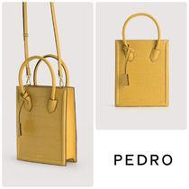 ★PEDRO★Croc-Effect Leather Tote レザートートバッグ/送料込
