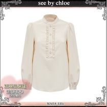 21AW☆送料込【see by chloe】フリル付き ノーカラー ブラウス