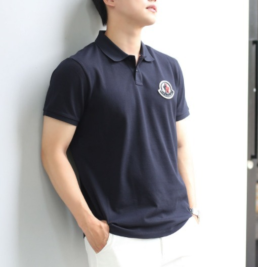 MONCLER☆21FW ビッグロゴパッチ ポロシャツ MENS NAVY (MONCLER/ポロシャツ) 72156545