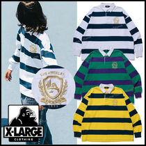 X-Large(エクストララージ) ポロシャツ 国内発 XLARGE◆EMBROIDERY CREST RUGBY STRIPE SHIRT 胸ロゴ◎