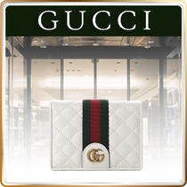 GUCCI★Calfskin Quilted Web GG Marmont ウォレット