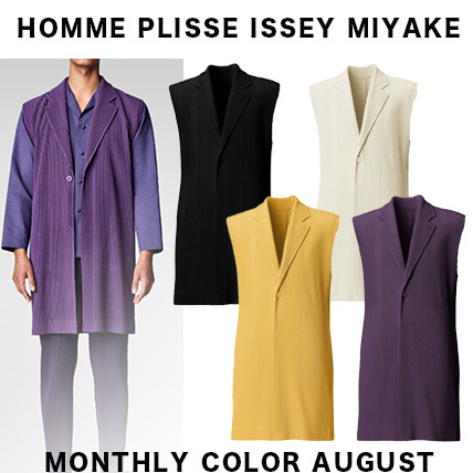 21AW【HOMME PLISSE ISSEY ロングベスト MONTHLY COLOR AUGUST】 (ISSEY MIYAKE/ベスト・ジレ) HP13JE110