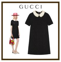 【GUCCI】Wool dress with embroidered collar
