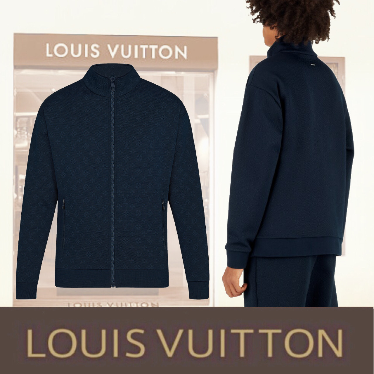 Louis Vuitton モノグラム パーカー ジャージ 1A5CUX ネイビー (Louis Vuitton/ジャージ) 1A5CUX