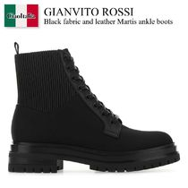 Gianvito Rossi(ジャンヴィト ロッシ) ショートブーツ・ブーティ Gianvito Rossi Black fabric and leather Martis ankle boots