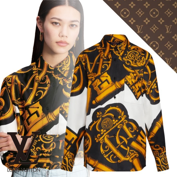 21AW【ルイヴィトン】キーシャツ シルク ロゴ (Louis Vuitton/ブラウス・シャツ) 1A9AHL