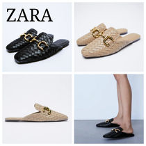 ZARA【NEW】FLAT MULES WITH BUCKLE DETAIL
