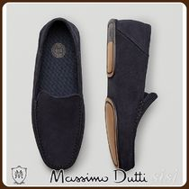 MassimoDutti♪BLUE SPLIT SUEDE LEATHER HOUSE SLIPPERS