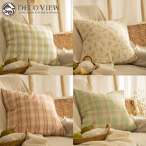 ★DECO VIEW★送料込★正規品 韓国 Natural Check Cushion Cover