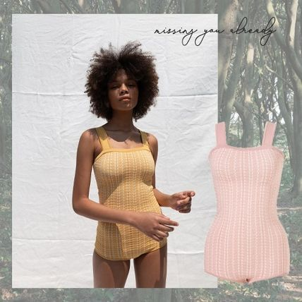 missing you already::Jaquard swimsuit_yellow/pink*送料税関込