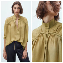 Massimo Dutti【NEW】HIGH NECK BLOUSE WITH TIE DETAIL