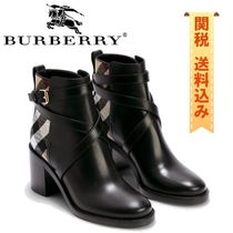 【BURBERRY】HORSE CHECK AND LEATHER ANKLE BOOTS
