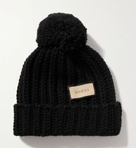 ★GUCCI★Pompom-embellished ribbed wool beanie