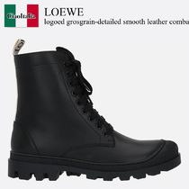 Loewe logoed grosgrain-detailed smooth leather combat boots