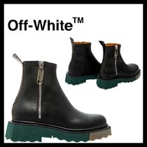 OFF-WHITE SPONGE SOLE ZIP leather BOOTS 国内発送