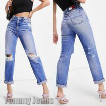 【Tommy Jeans】high rise straight leg ripped knee ジーンズ