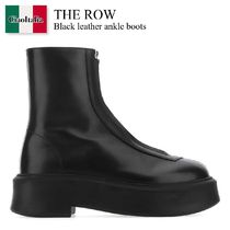 The Row Black leather ankle boots