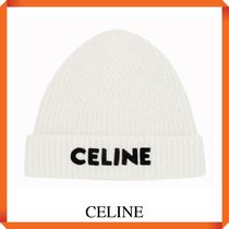 CELINE EMBROIDERED KNIT WOOL BEANIE