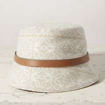 ★LOEWE★Leather-trimmed embroidered cotton-blend bucket hat