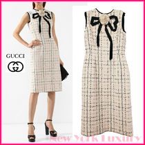 GUCCI★素敵!CHECKED TWEED GROSGRAIN BOW TRIMMED DRESS