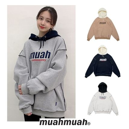 MUAHMUAH ◆ Combi point logo Double Napping hoodie 4色
