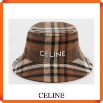 CELINE 1点のみ BUCKET HAT IN CHECKED WOOL MULTICOLORED BROWN