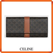 CELINE LARGE FLAP WALLET IN TRIOMPHE CANVAS AND LAMBSKIN