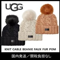 【UGG】KNIT CABLE BEANIE FAUX FUR POMニット帽♪