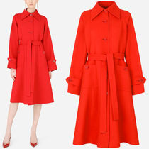 DG2579 BELTED SINGLE-BREASTED DOUBLE CREPE COAT