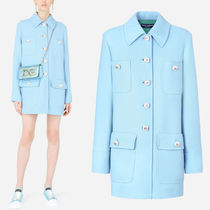 DG2588 DOUBLE CREPE CABAN COAT WITH PEARL DG BUTTONS