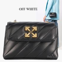 OFF WHITE Small black leather bag with logo
