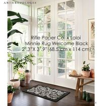 ANTHROPOLOGIE*Rifle Paper Co. Minnie Rug Welcome Black