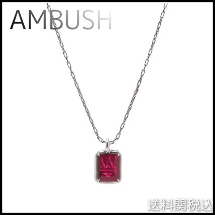 AMBUSH◆ SQUARE CUT GEM NECKLACE ジェムネックレス SILVER/RED