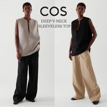 COS(コス) Tシャツ・カットソー 【新作 21-22SS】COS DEEP V-NECK SLEEVELESS TOP