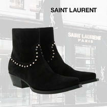 """【SAINT LAURENT】 """"LUKAS"""" STUDDED BOOTS IN LEATHER"""