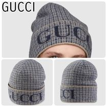 【GUCCI】グッチ WOOL CHECK HAT WITH GUCCI LOGO