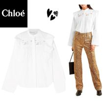 CHLOE Ruffled pintucked broderie anglaise cotton blouse