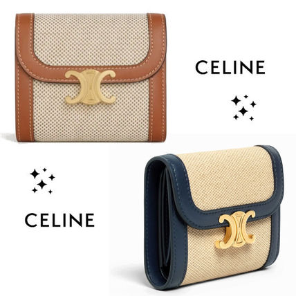 ★CELINE★SMALL TRIOMPHE WALLET IN TEXTILE WITH CELINE PRINT