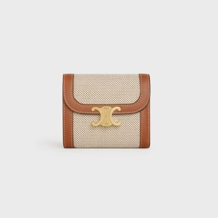 CELINE 折りたたみ財布 ★CELINE★SMALL TRIOMPHE WALLET IN TEXTILE WITH CELINE PRINT(3)