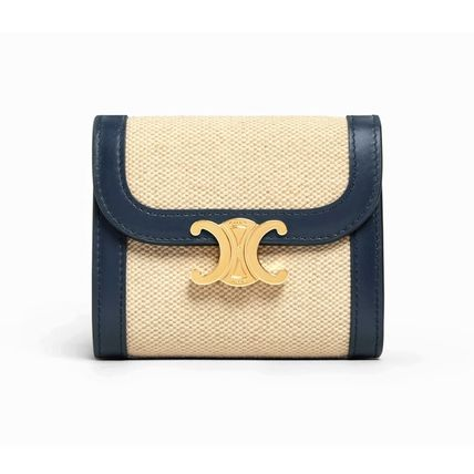 CELINE 折りたたみ財布 ★CELINE★SMALL TRIOMPHE WALLET IN TEXTILE WITH CELINE PRINT(8)