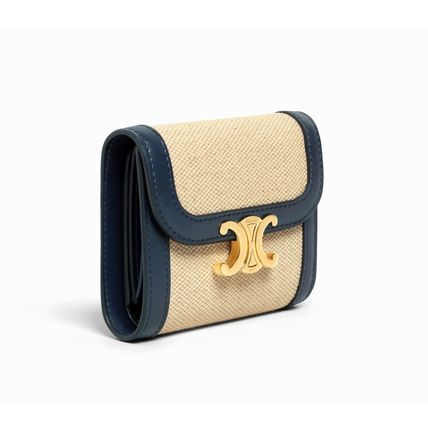 CELINE 折りたたみ財布 ★CELINE★SMALL TRIOMPHE WALLET IN TEXTILE WITH CELINE PRINT(9)