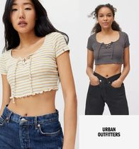 Urban Outfitters(アーバンアウトフィッターズ) Tシャツ・カットソー 即発送★Urban Outfitters★レースアップクロップトップ Tシャツ