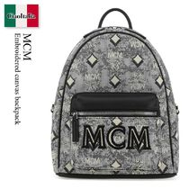 Mcm Embroidered canvas backpack