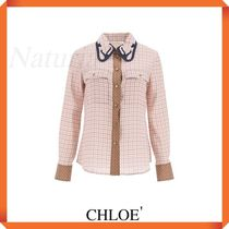 Chloe' Checkered Shirt With Embroidered Collar