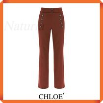 Chloe' Navy Trousers With Buttons