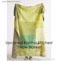 *ANTHROPOLOGIE*Upcycled Kantha-Stitched Throw Blanket GR