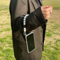 ARNO(アルノ) テックアクセサリー 【ARNO】beads strap iPhone Galaxy Case (Black Point Pearl)