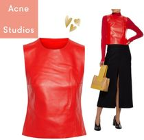 Acne Studios Lara leather and ribbed-knit top