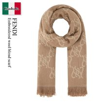 Fendi Embroidered wool blend scarf